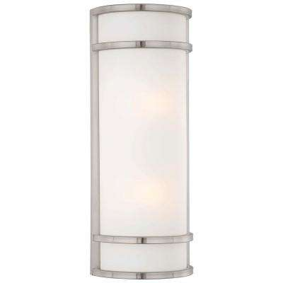 Bay View 2-Light Brushed Stainless Steel Outdoor Wall Lantern Sconce