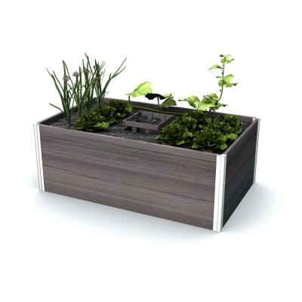 Urbana 60 in. x 36 in. Espresso Brown Vinyl Raised Composting Garden