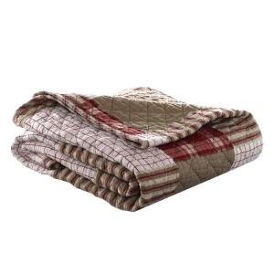 Camano Island Red Plaid Quilted Cotton Throw Blanket
