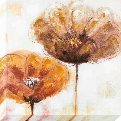 35 in. x 35 in. Warm Poppies Oil Painted Canvas Wall Art