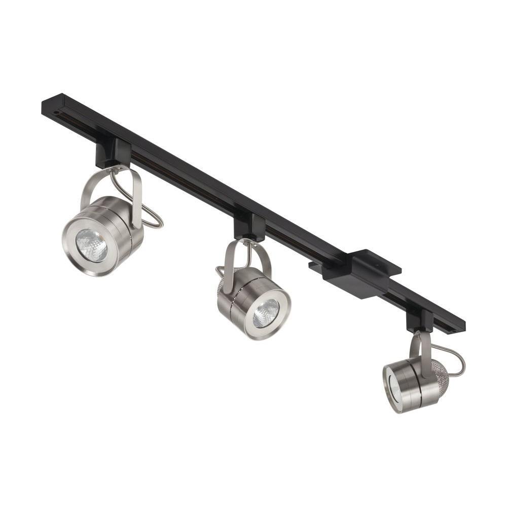 lithonia lighting 44 5 in 3 light brushed nickel led integrated meshback track lighting kit. Black Bedroom Furniture Sets. Home Design Ideas