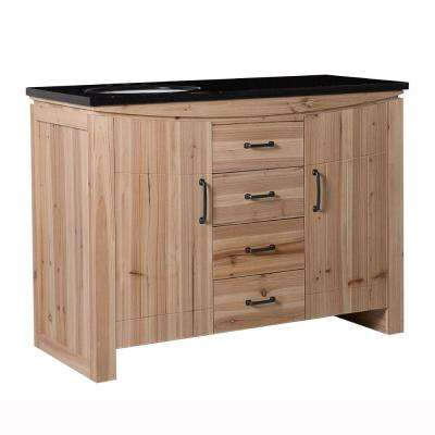 Vista 48 in. W x 22 in. D x 36 in. H Single Vanity in Natural with Granite Vanity Top in Black with White Left Basin