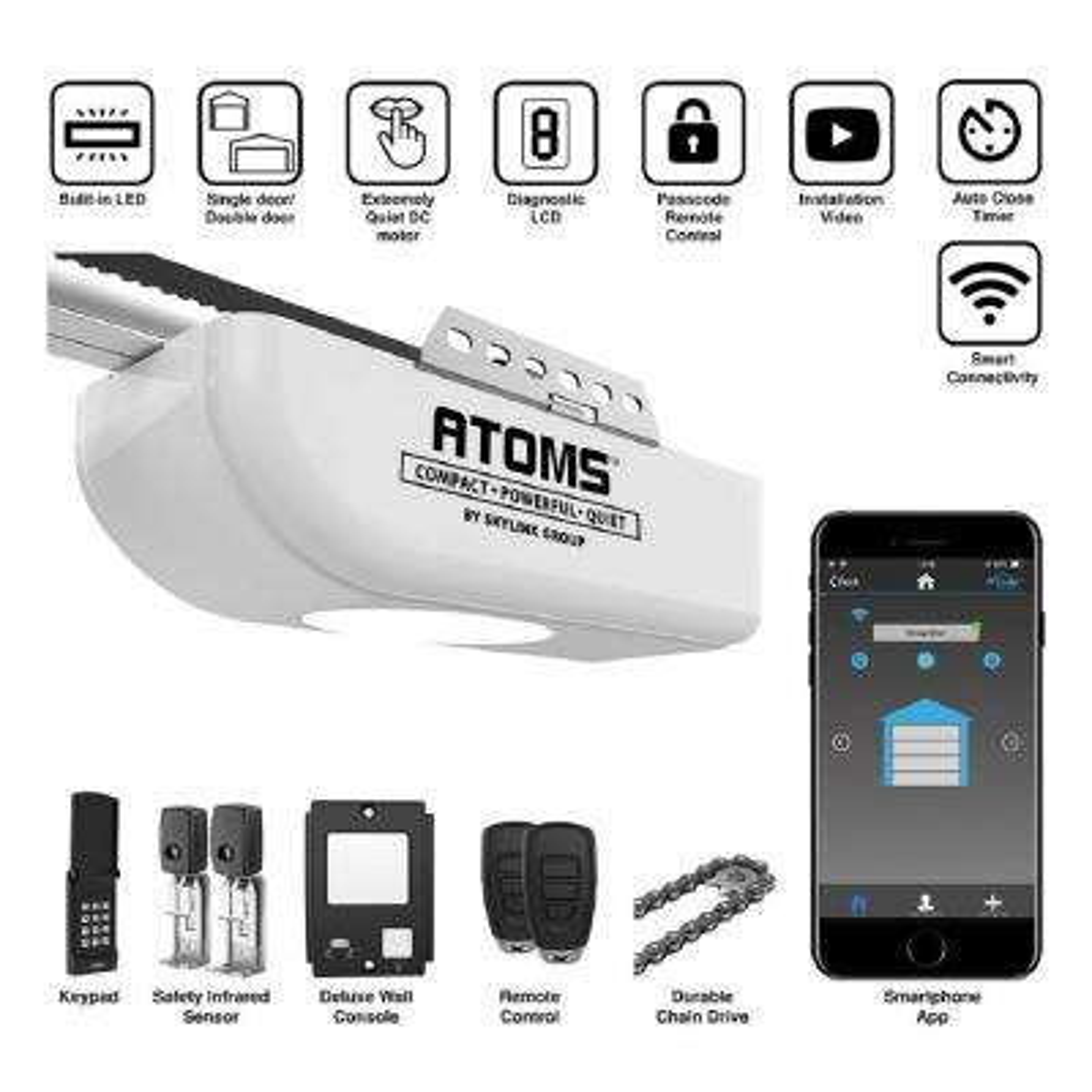 Atoms Smartphone-Controlled Heavy Duty Anti-Breakin Chain Drive Ultra-Quiet Garage Door Opener with Built-In Bright LED