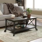 Steel River 43 in. Carbon Oak Large Rectangle Composite Coffee Table with Casters