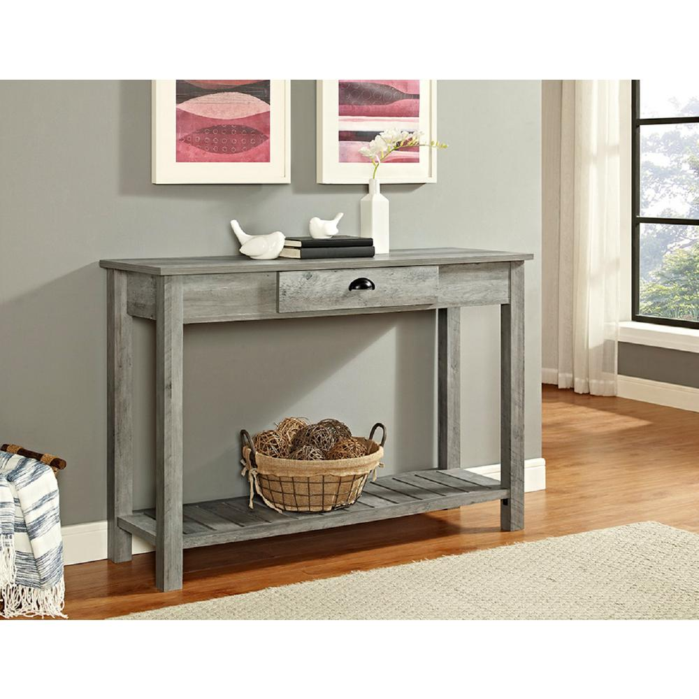 Attractive Walker Edison Furniture Company 48 In. Country Style Entry Console Table In  Gray Wash