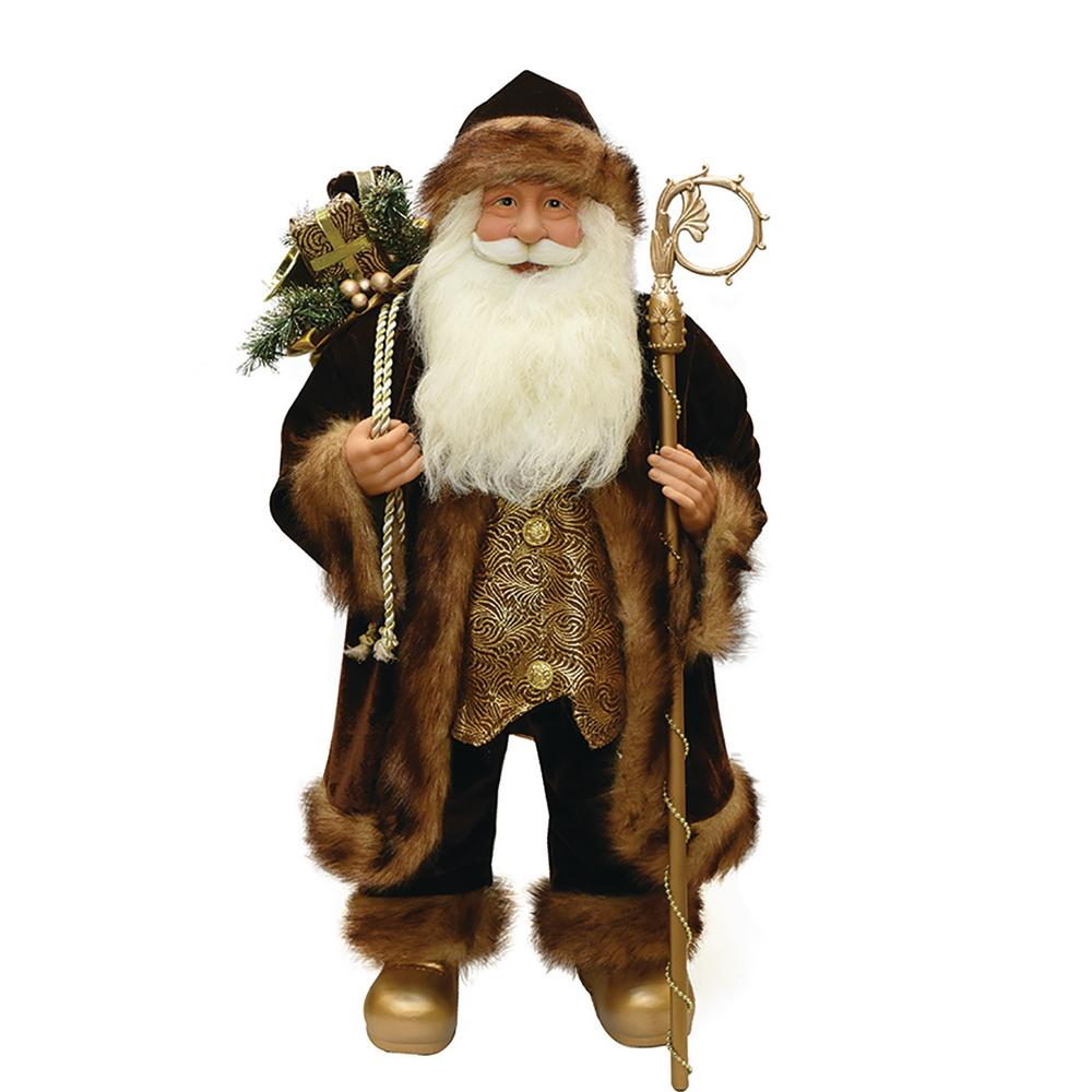24 in. Brown and Bronze Standing Santa Claus Christmas Figure with