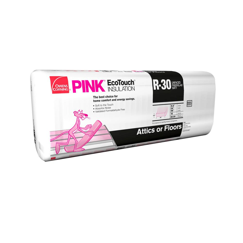 Owens corning r 30 unfaced insulation batts 24 in x 48 in for Thickness of batt insulation