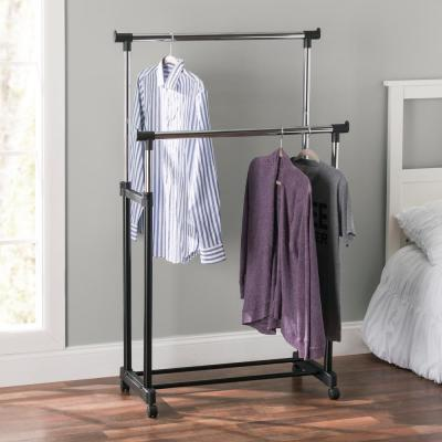 Black & Chrome Metal Double Bar Clothes Rack (17 in. W x 37 in. H)