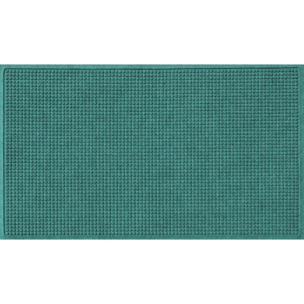 Aquamarine 36 in. x 108 in. Squares Polypropylene Door Mat