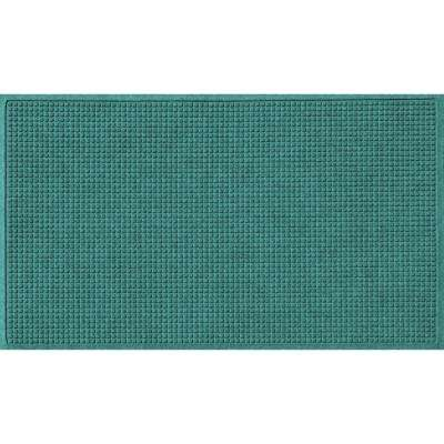 Aquamarine 36 in. x 84 in. Squares Polypropylene Door Mat