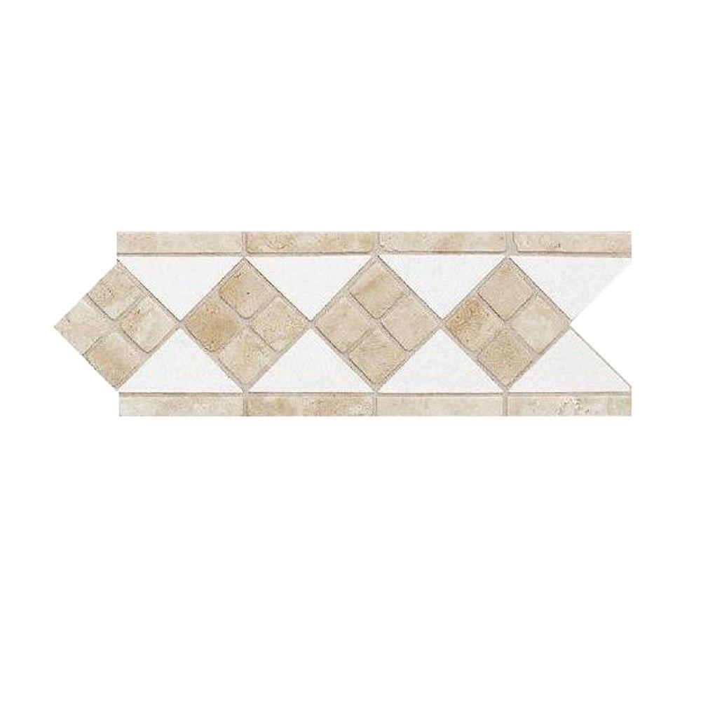 Daltile fashion accents travertine arctic white 4 in x 12 for Travertine accent tile