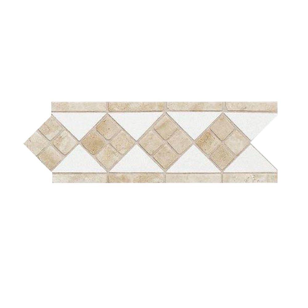 Daltile Fashion Accents Travertine Arctic White 4 in. x 12 in. Natural Stone Listello Wall Tile