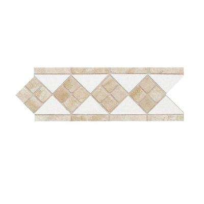 Fashion Accents Travertine Arctic White 4 in. x 12 in. Natural Stone Listello Wall Tile