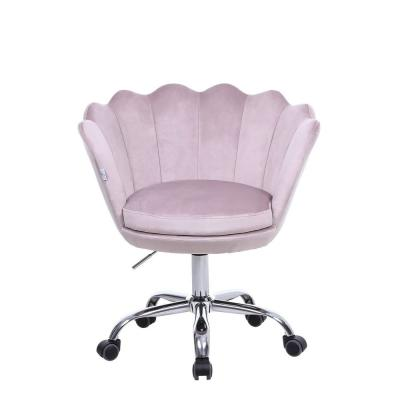 Pink Velvet Swivel Office Desk Chair Shell Height Adjustable Accent Chair with 360 Degree Castor Wheels