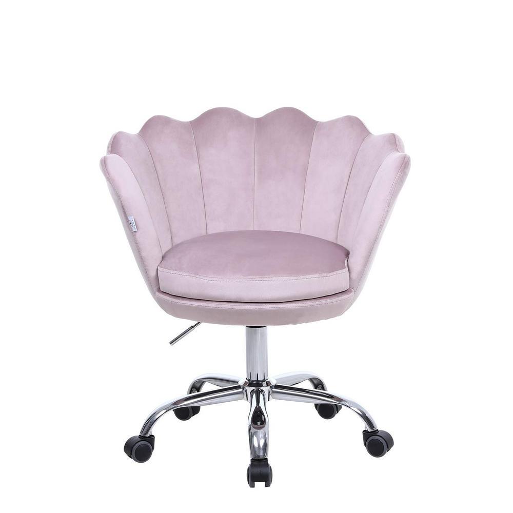 Boyel Living Pink Velvet Swivel Office Desk Chair Shell Height Adjustable Accent Chair With 360 Degree Castor Wheels Wf Hfsn 109p The Home Depot