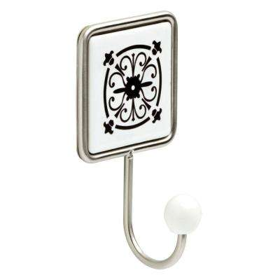 6-1/3 in. Flat White and Satin Nickel Decorative Tile Wall Hook