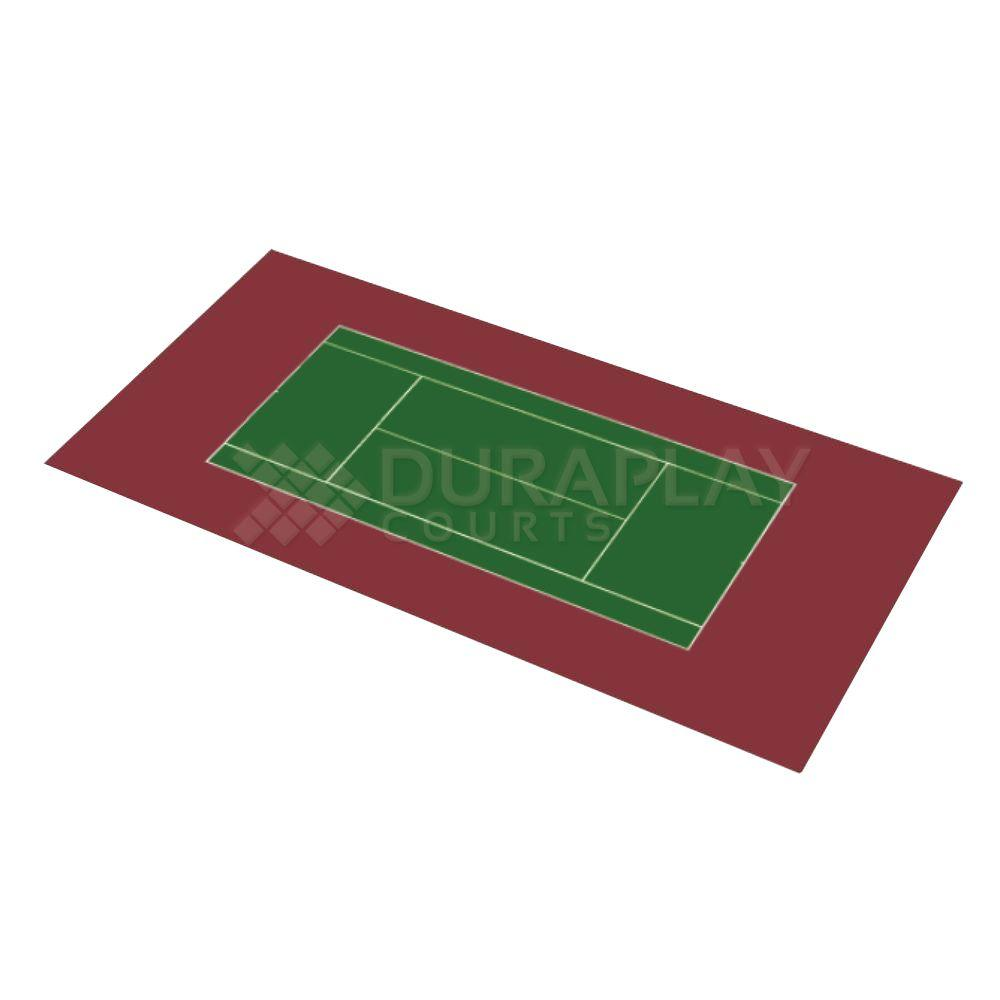 DuraPlay 58 ft. 10 in. x 119 ft. 10 in. Slate Green and Burgundy Full Tennis Court