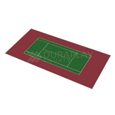 58 ft. 10 in. x 119 ft. 10 in. Slate Green and Burgundy Full Tennis Court