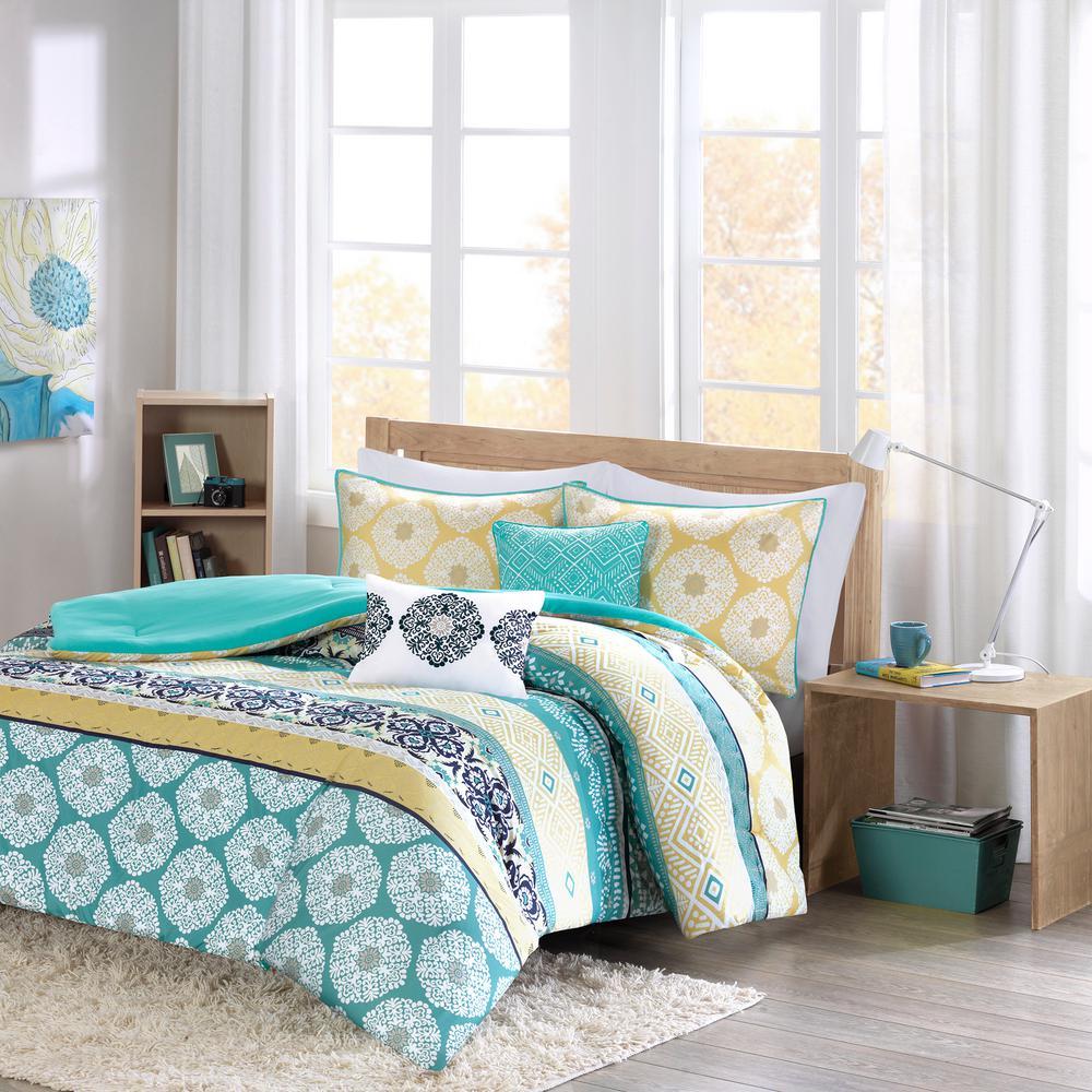 Celeste 5-Piece Green Full/Queen Boho Comforter Set