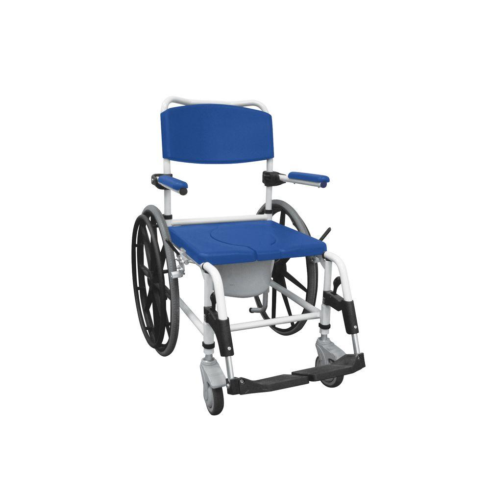 Drive Aluminum Shower Commode Mobile Wheelchair, Blue