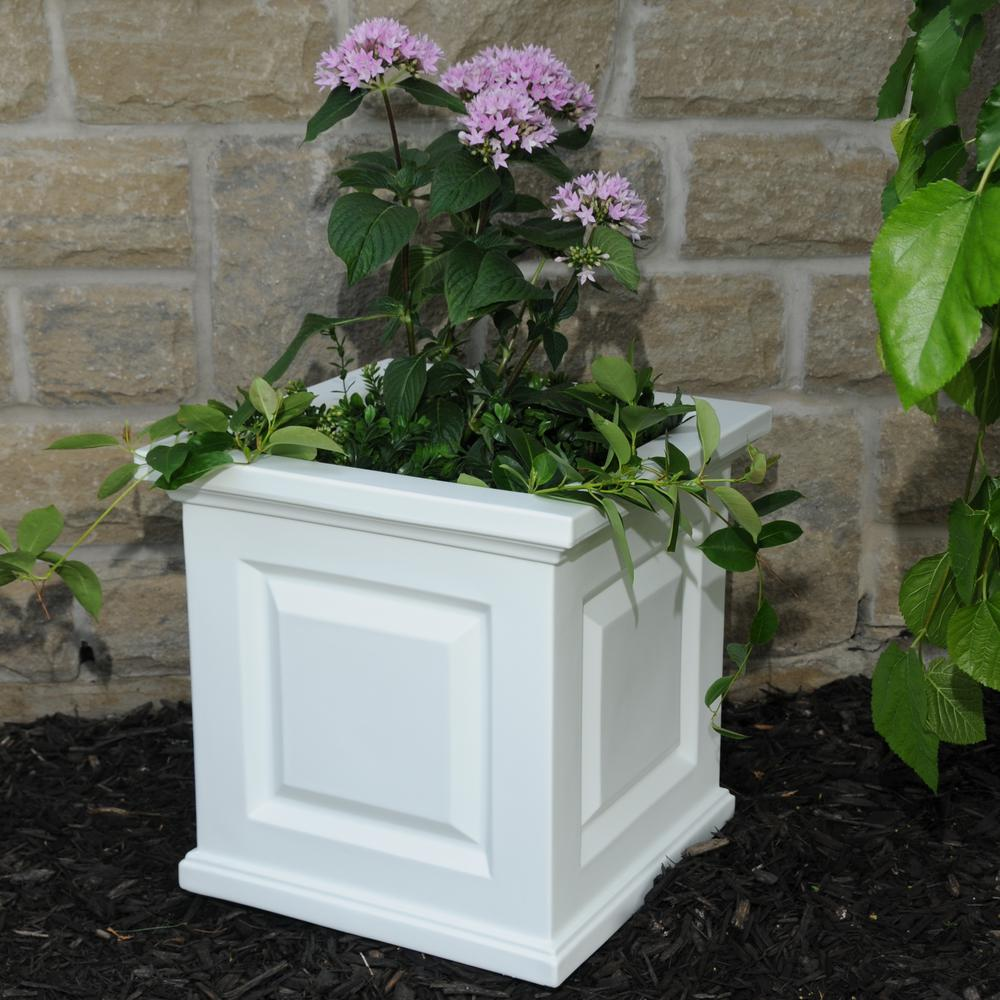 Plastic Outdoor Planters Mayne nantucket 16 in square white plastic planter 5865 w the square white plastic planter workwithnaturefo