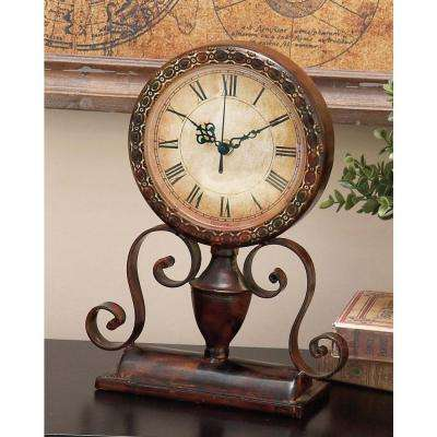 Classic 12 in. x 8 in. Round Iron Table Clock