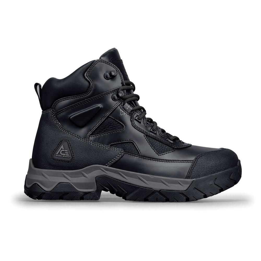 3665d3b6239 Ace Glacier ST Men's Size 9.5M Black Leather Slip-Resistant Steel Toe Work  Boot