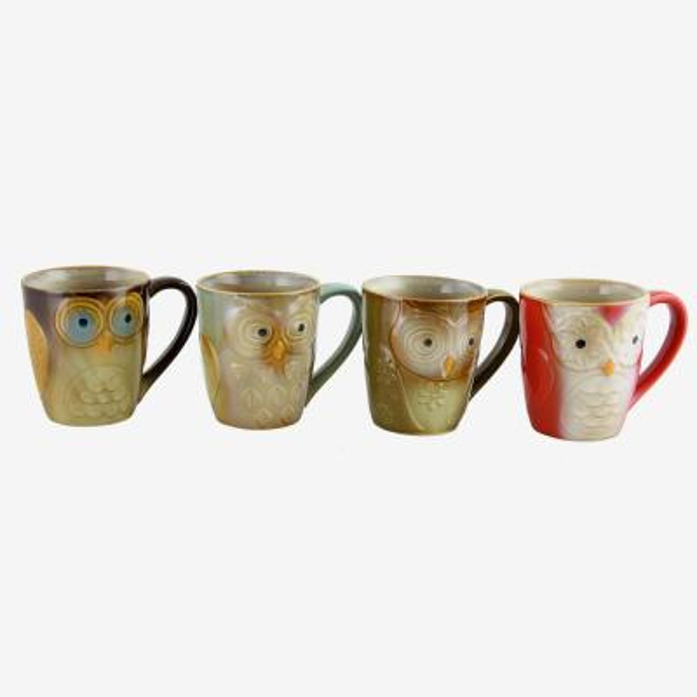 Owl City 17 oz. Assorted Colors Mugs (Set of 4)