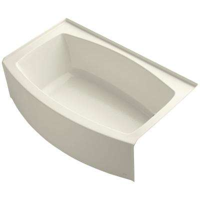 Expanse 5 ft. Acrylic Right-Hand Drain Curved Farmhouse Rectangular Apron Front Non-Whirlpool Bathtub in Biscuit
