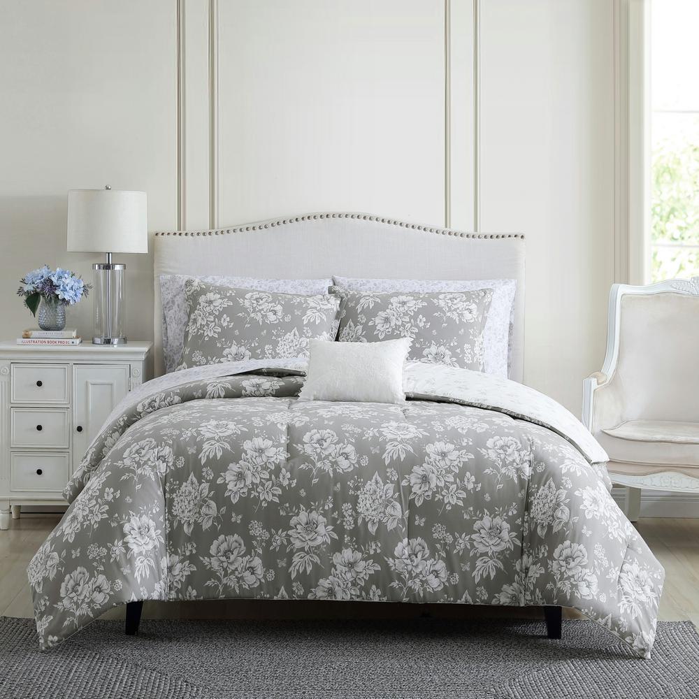 Katherine 3-Piece Grey Cotton King Comforter Set