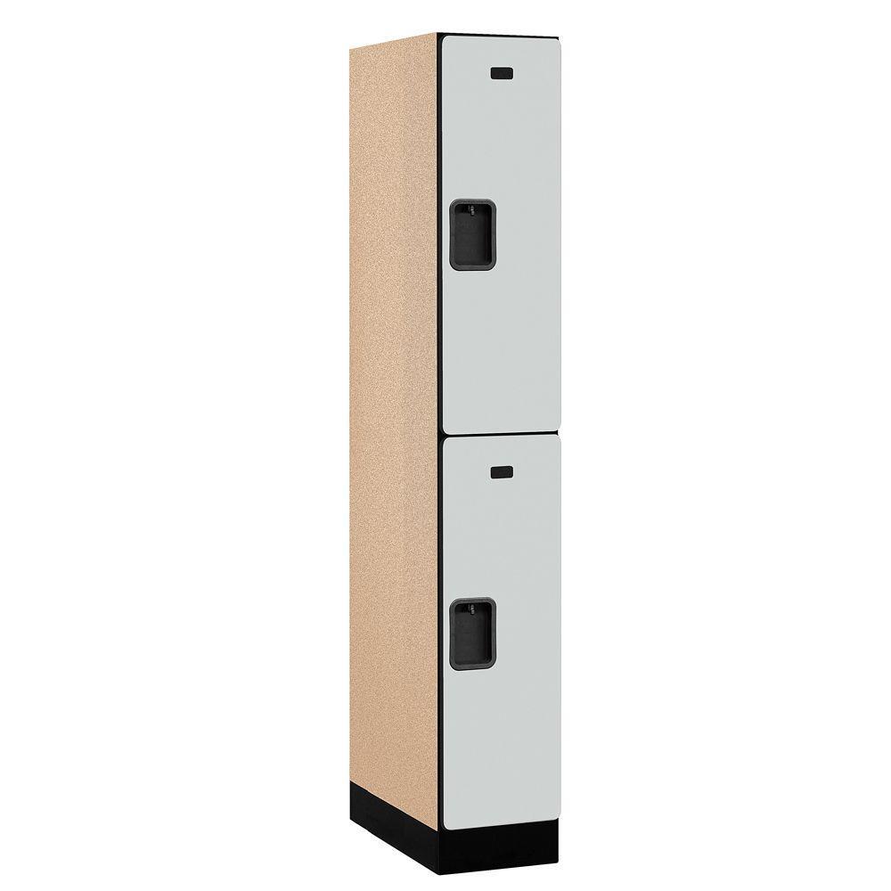 Salsbury Industries 32000 Series 12 in. W x 76 in. H x 21 in. D 2-Tier Designer Wood Locker in Gray