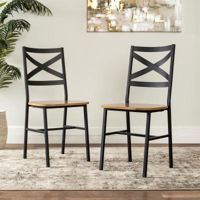 Angle Iron X-Back Barnwood Metal and Wood Dining Chairs (Set of 2)