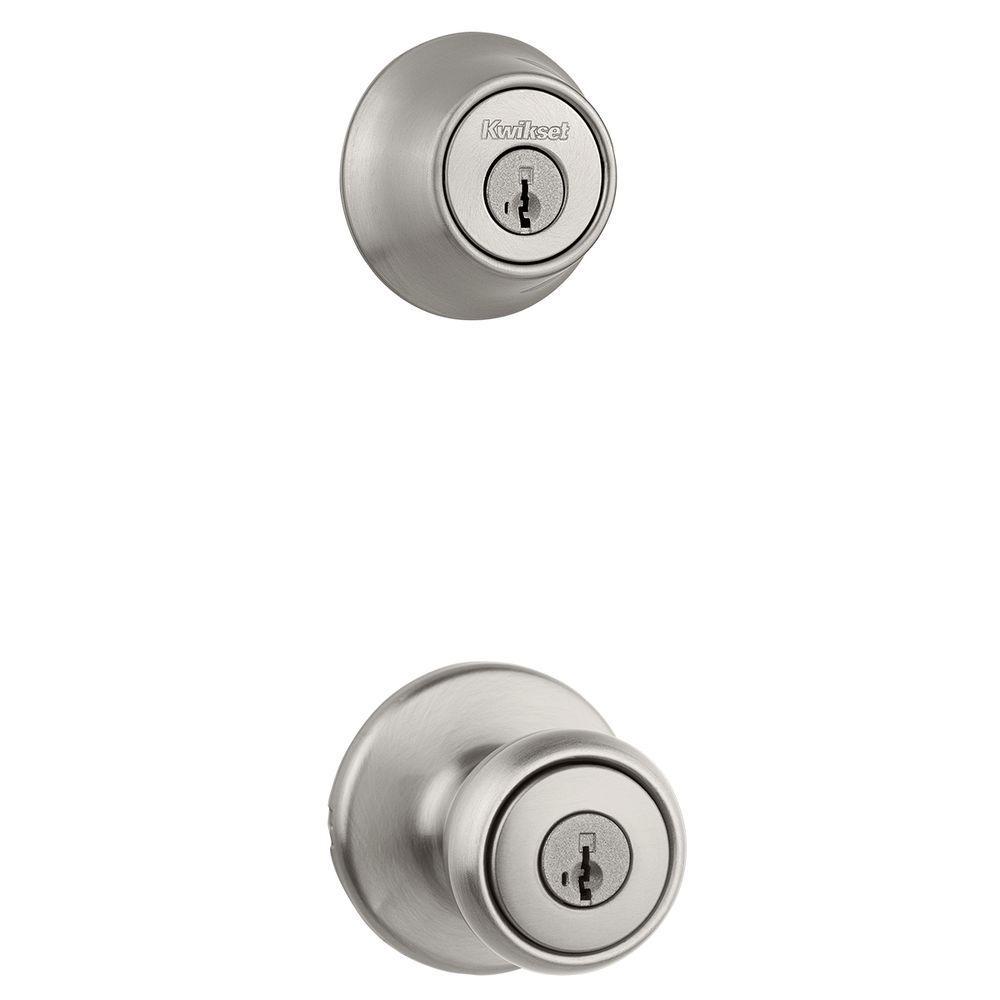 Kwikset Tylo Satin Nickel Keyed Entry Door Knob and Single Cylinder ...