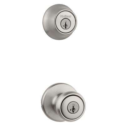 Tylo Satin Nickel Keyed Entry Knob and Single Cylinder Deadbolt Combo Pack featuring SmartKey