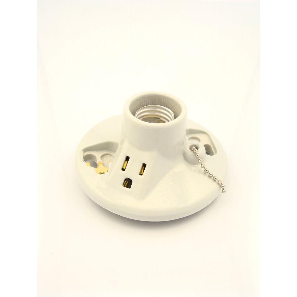 Ceiling Socket Porcelain 250 Watt Voltage Fixture White Medium Base Pull Chain