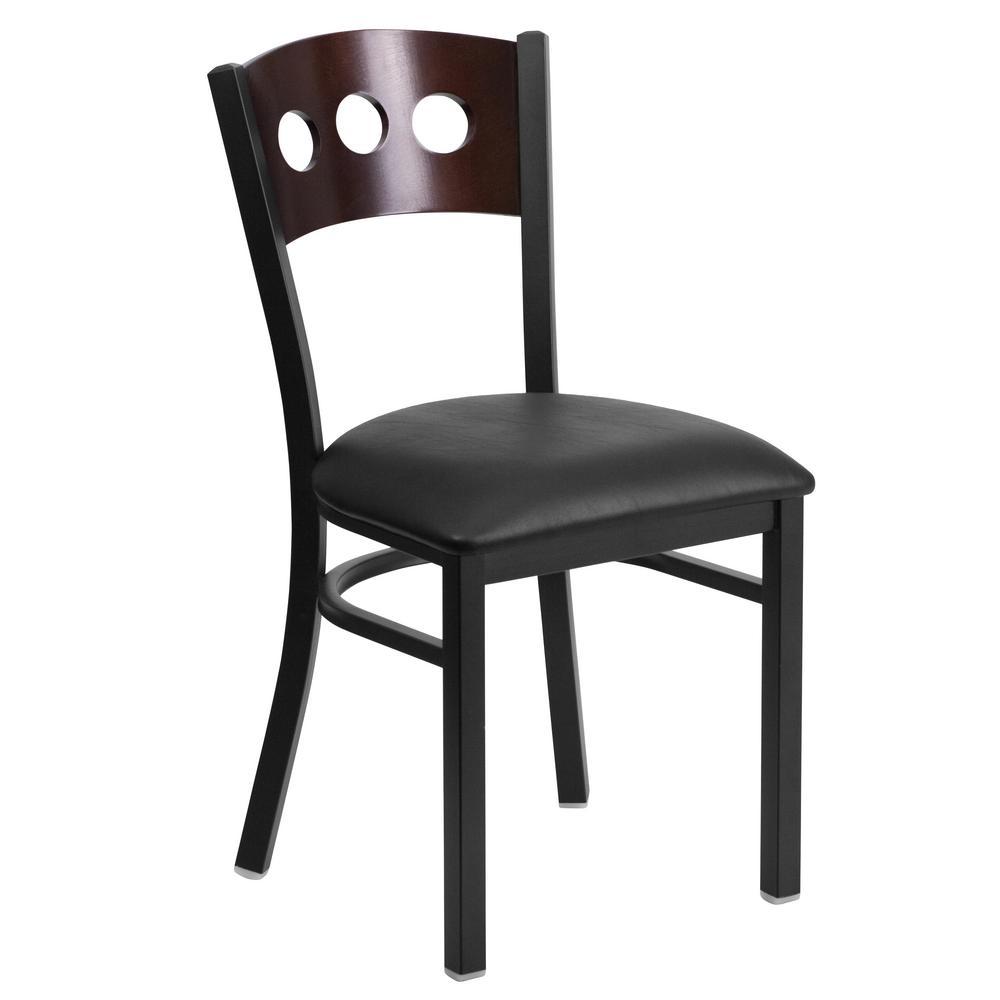 Hercules Series Black Decorative 3 Circle Back Metal Restaurant Chair with Walnut Wood Back, Black Vinyl Seat