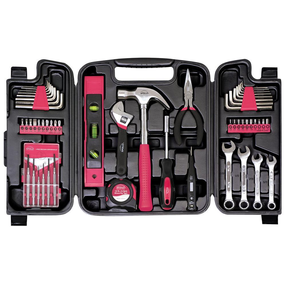 Home Tool Kit Pink (53-Piece)