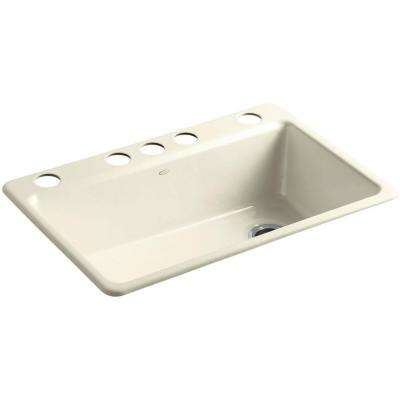 Riverby Undermount Cast-Iron 33 in. 5-Hole Single Bowl Kitchen Sink Kit with Accessories in Cane Sugar