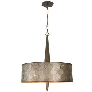 Wonderful Iconic 6 Light Champagne Mist Drum Pendant With Recycled Steel Shade