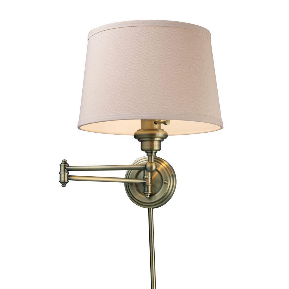 Home Depot Wall Lighting: Titan Lighting Westbrook 1-Light Antique Brass Swing Arm