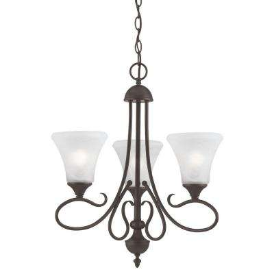 Elipse 3-Light Painted Bronze Chandelier