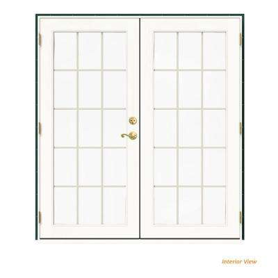 72 in. x 80 in. W-2500 Green Clad Wood Right-Hand 15 Lite French Patio Door w/White Paint Interior