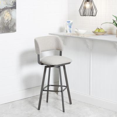 Adler 29 in. Beige Open Wrap Back Adjustable Swivel Bar Stool
