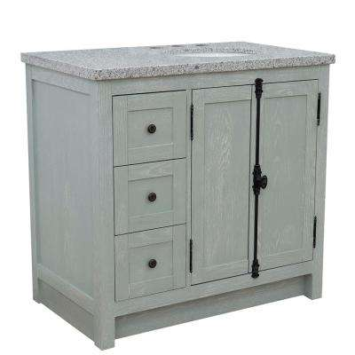 37 in.W x 22 in D. in x 36 in. H Bath Vanity in Gray Ash and Gray Granite Vanity Top with Right Side Oval Sink