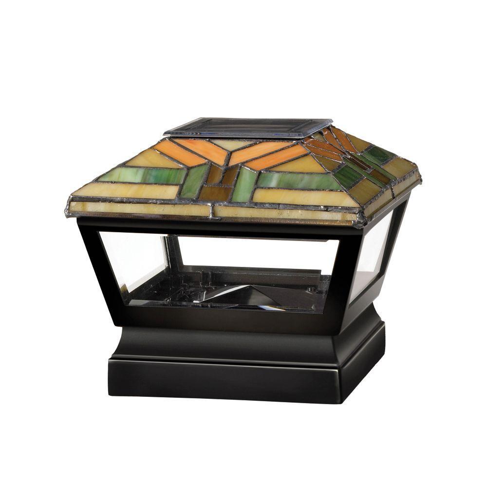 Veranda 5 in. x 5 in. Vinyl Solar Light Harvest Top Pyramid Post Cap with Black Base
