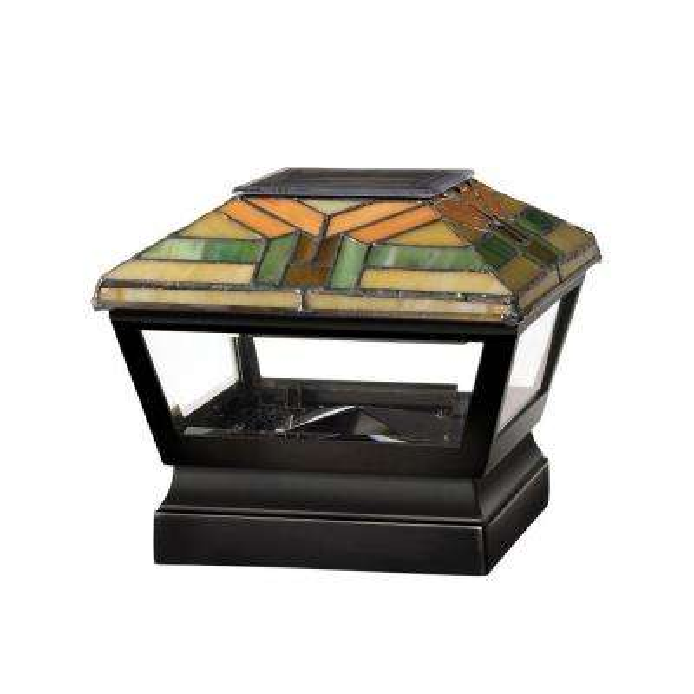 5 in. x 5 in. Vinyl Solar Light Harvest Top Pyramid Post Cap with Black Base