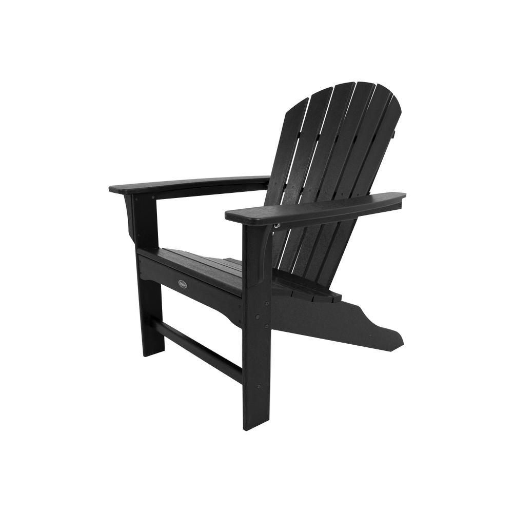 Yacht Club Shellback Charcoal Black Plastic Patio Adirondack Chair