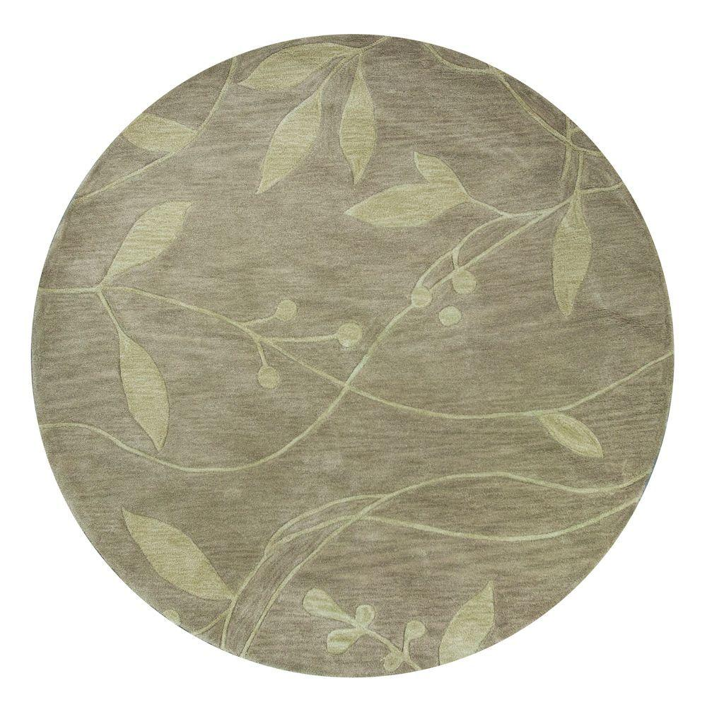 Kas Rugs Simple Leaf Celedon 5 ft. 6 in. x 5 ft. 6 in. Round Area Rug