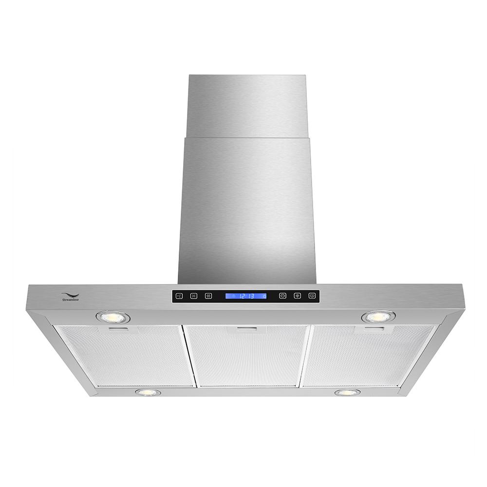 Streamline 30 In 480 Cfm Convertible Wall Mount Range Hood In Stainless Steel With Mesh Filter Touch Control Led Lights S 200msh 30 The Home Depot