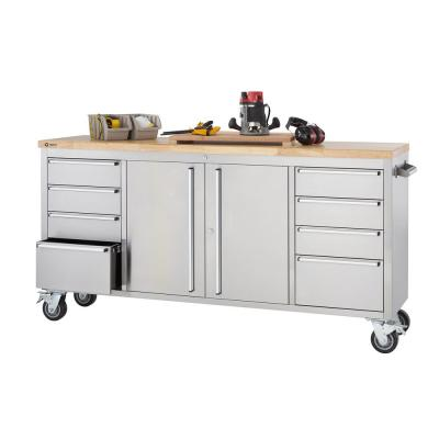 6 ft. 8-Drawer Stainless-Steel Corner Rolling Mobile Workbench with Storage